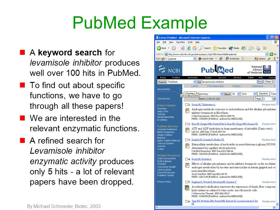 By Michael Schroeder, Biotec, 20037 GoPubMed Example Query: Levamisole inhibitor Maximum papers: 100 Strict matching 54 papers in biological process 20 in cellular components 72 in molecular function