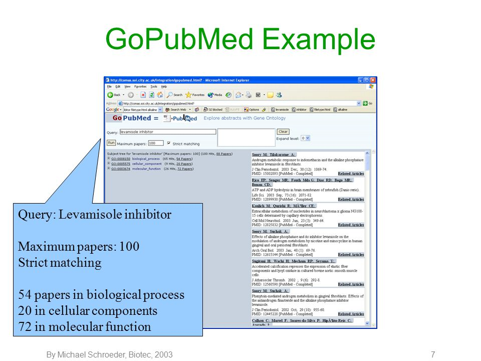 By Michael Schroeder, Biotec, 20038 GoPubMed Example Let's look for some functions: 70 papers including terms, which are enzyme activities