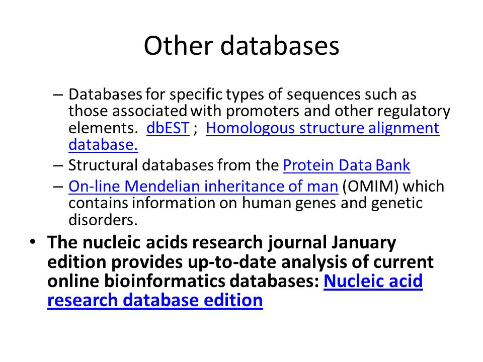 Other important information sources PUBMED: Literature research: journal articles/ conference proceedings/ books etc.