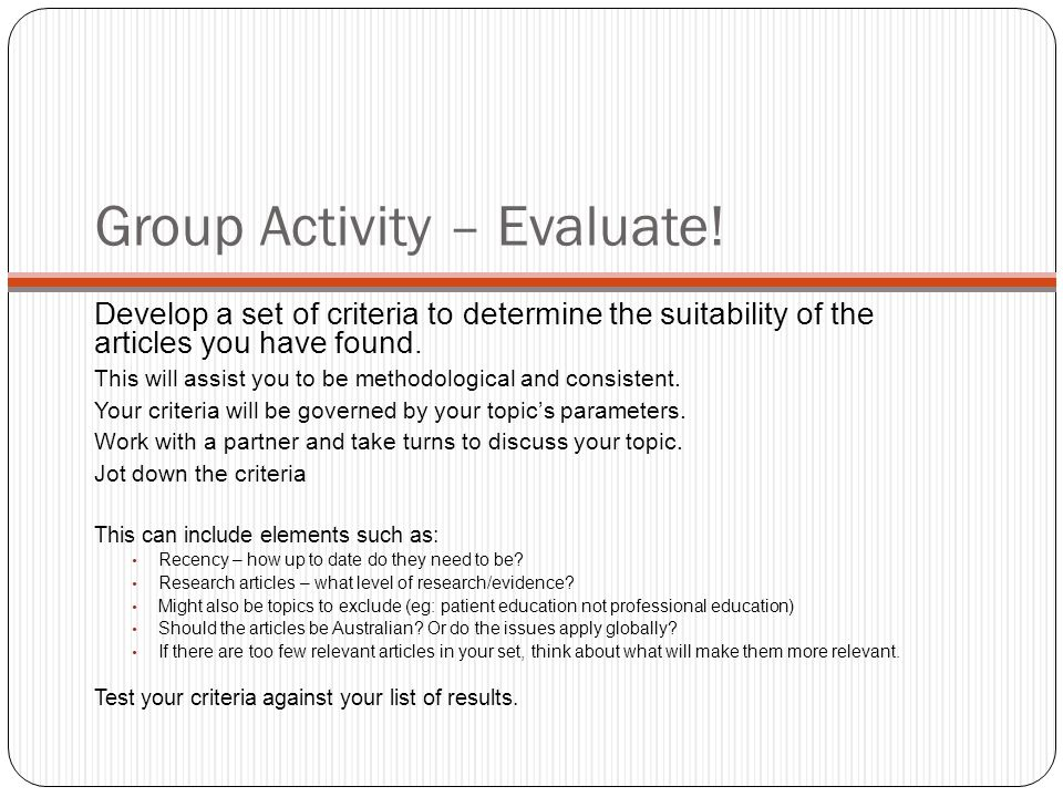Group Activity – Evaluate.