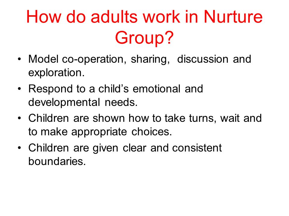 What happens in a Nurture Group.