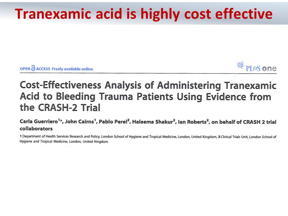  Tranexamic acid reduces mortality in bleeding trauma patients  Tranexamic acid does not seem to increase unwanted clotting  Tranexamic acid needs to be given early – within 3 hours of injury  Tranexamic acid is not expensive and could save hundreds of thousands of lives each year around the world What we concluded