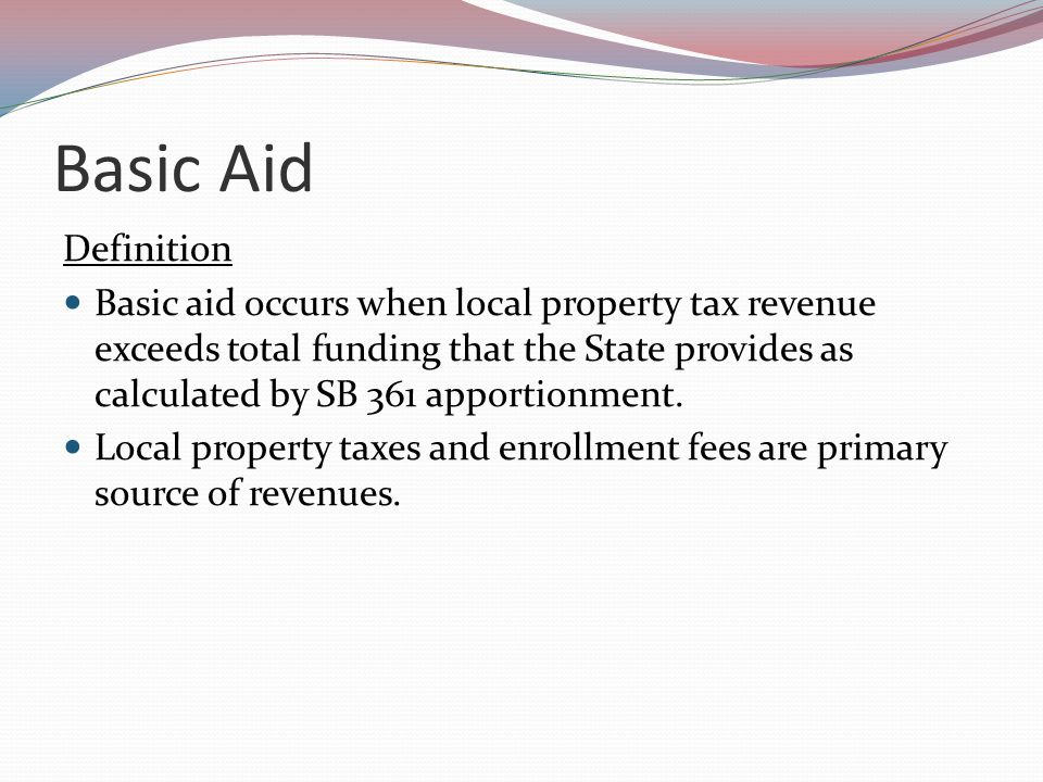 Revenue Impact on Basic Aid No State apportionment Not affected by State budget shortfalls Community College system shortfall Deferrals