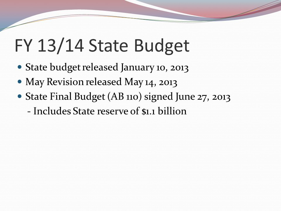 FY 13/14 State Budget for Community Colleges ItemJanuary ProposalMay ReviseFinal Budget Apportionment$196.9M$87.5M COLA $89.4M Growth $87.5M COLA $89.4M Growth Student Success$50M On-line Education$16.9M Adult Education$315.7M$30M for 2 years $500M for FY 15/16 $25M for 2 years $500M for FY 15/16 Deferral buy-down$179M$179.9M for FY 12/13 $64.5M for FY 13/14 $179.9M for FY 12/13 $30M for FY 13/14 90-unit capProposedWithdrawnDeleted
