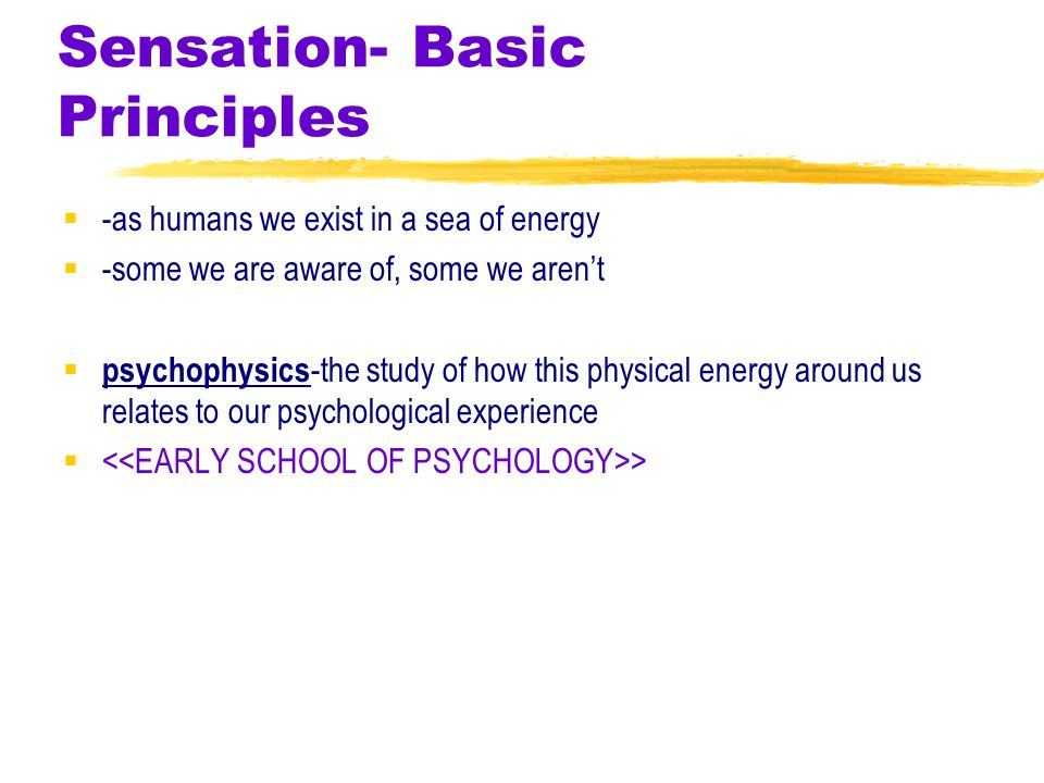 Sensation- Basic Principles  -as humans we exist in a sea of energy  -some we are aware of, some we aren't  psychophysics -the study of how this physical energy around us relates to our psychological experience  >