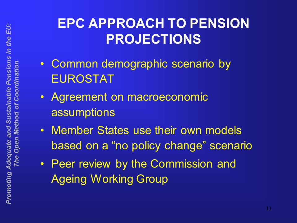 12 NEXT ROUND OF PENSION PROJECTIONS Eurostat demographic scenario ready in mid- 2004 for EU-25 Based on common assumptions and methodology agreed in Ageing Working Group, new projections on age-related (including pensions) expenditure to be finalised by mid-2005 Compatible with timetable for submission of National Strategy Reports in 2005 Promoting Adequate and Sustainable Pensions in the EU: The Open Method of Coordination