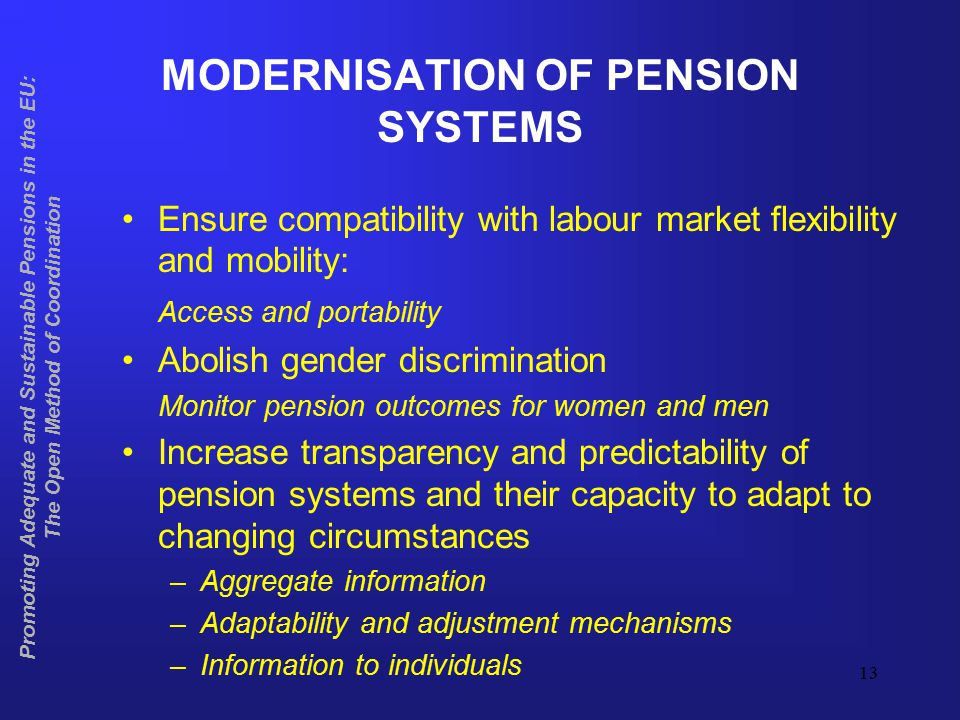 14 Promoting Adequate and Sustainable Pensions in the EU: The Open Method of Coordination ASSESSING MODERNISATION Mostly qualitative assessment Quantitative assessment of gender impact in relation to adequacy Exchange of good practice particularly useful in relation to modernisation Special studies to be conducted