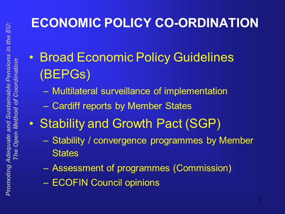 10 EPC PROJECTIONS: USAGE AND COVERAGE Made by the Ageing Working Group of the Economic Policy Committee Covers several age-related expenditure items Main purpose of EPC projections is to feed into the assessment of the sustainability of public finances as part of the Stability and Growth Pact and the Broad Economic Policy Guidelines Contribution to the assessment of the sustainability of public pension schemes in the Open Method of Coordination Promoting Adequate and Sustainable Pensions in the EU: The Open Method of Coordination