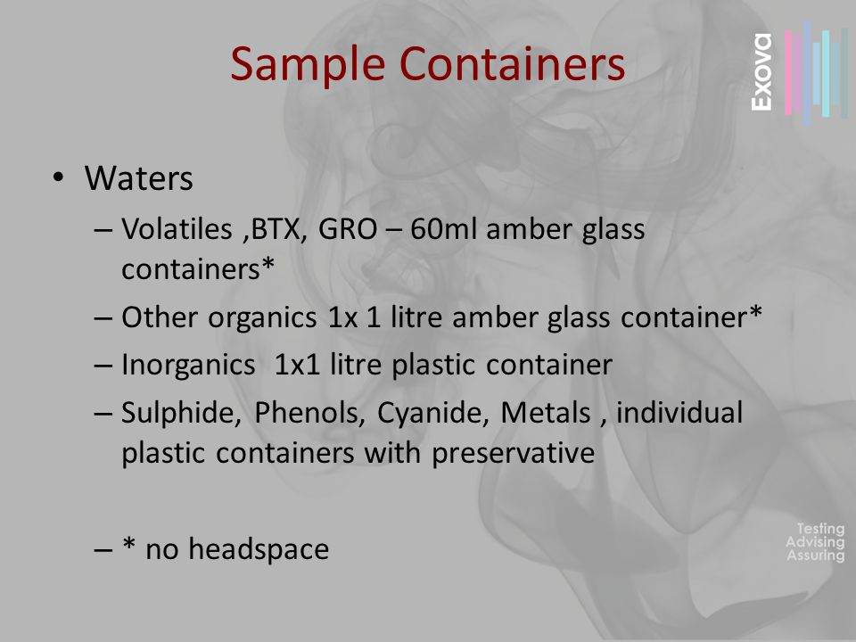 Preservatives Analyte - Preservative Cyanide - Sodium hydroxide Phenol - Sodium hydroxide Metals - Nitric acid Mercury - Potassium dichromate BOD - Unpreserved, no headspace Sulphide - Zinc acetate