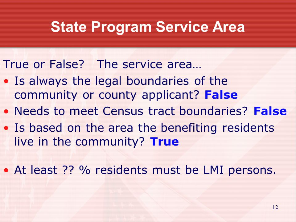 13 State Program Service Area True or False.