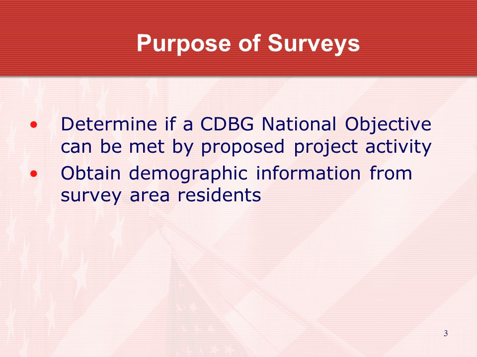 4 Meeting a CDBG National Objective (Area Benefit) At least 51% of the residents benefiting from the CDBG program live in households earning 80% or less than the area s Median Family Income as Determined by HUD The Median Family Income Thresholds change every year