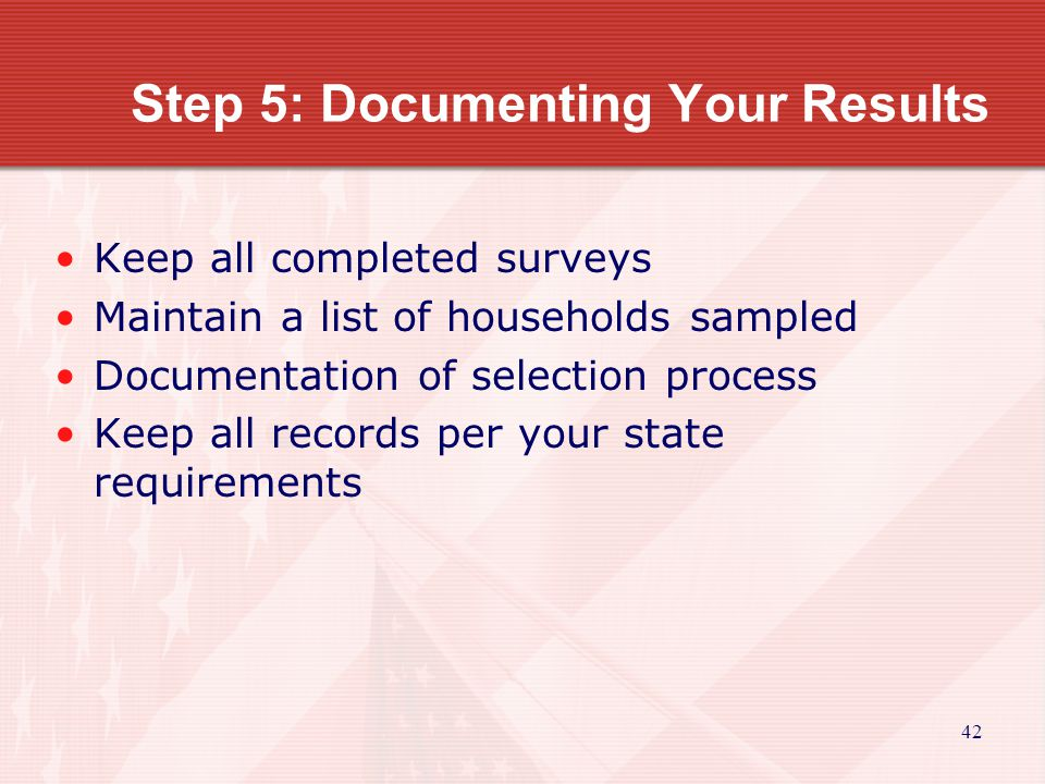 43 Analysis of Sampling Surveys What to do if everything was done correctly, including random selection of the required number of families, and your estimate shows that less than 51 percent of the residents of the service area have low- and moderate- incomes.