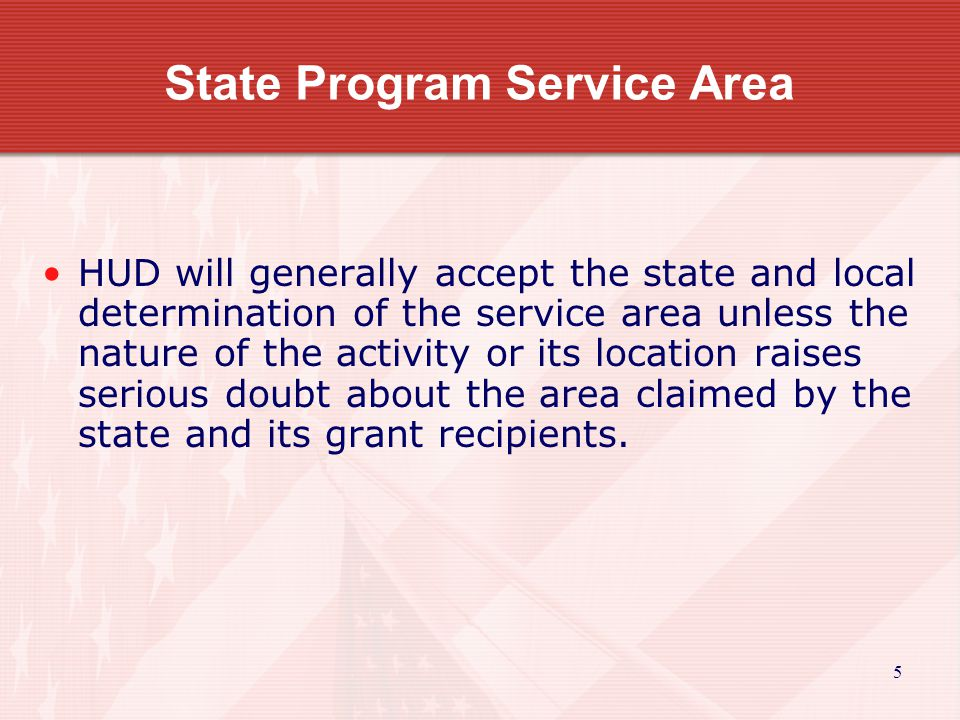 6 State Program Service Area Keys to meet LMI area national objective.
