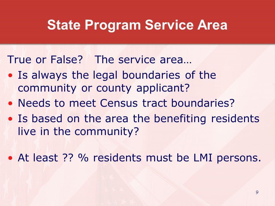 10 State Program Service Area True or False.