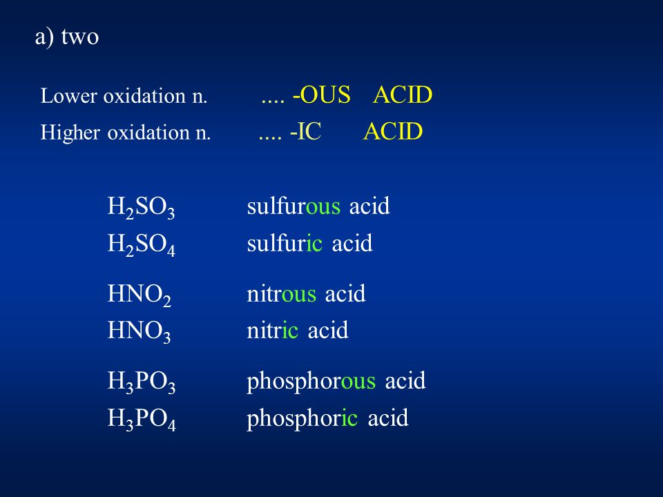 a) more than two the halogensCl, Br, I HClO hypochlorous acid HClO 2 chlorous acid HClO 3 chloric acid HClO 4 perchloric acid The same way: traditional H 2 MnO 4 manganic acid HMnO 4 permanganic acid