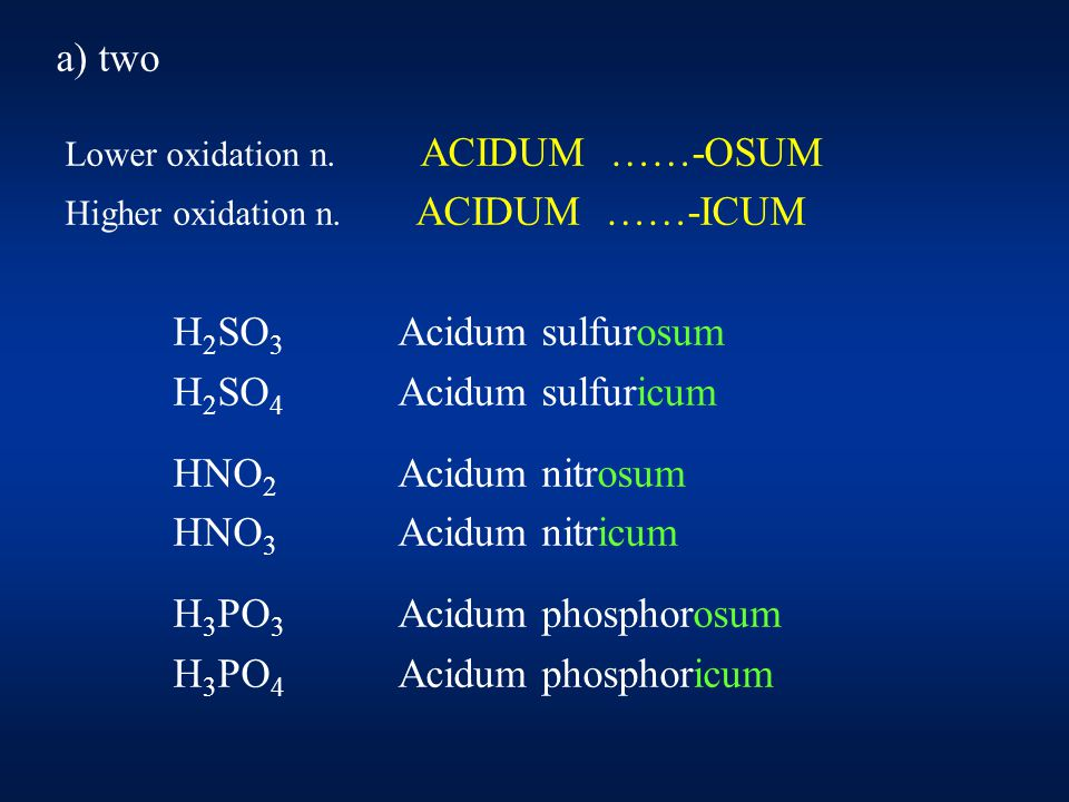 a) more than two the halogensCl, Br, I HClO Acidum hypochlorosum HClO 2 Acidum chlorosum HClO 3 Acidum chloricum HClO 4 Acidum hyperchloricum ( perchloricum ) The same way: traditional H 2 MnO 4 Acidum manganicum HMnO 4 Acidum hypermanganicum