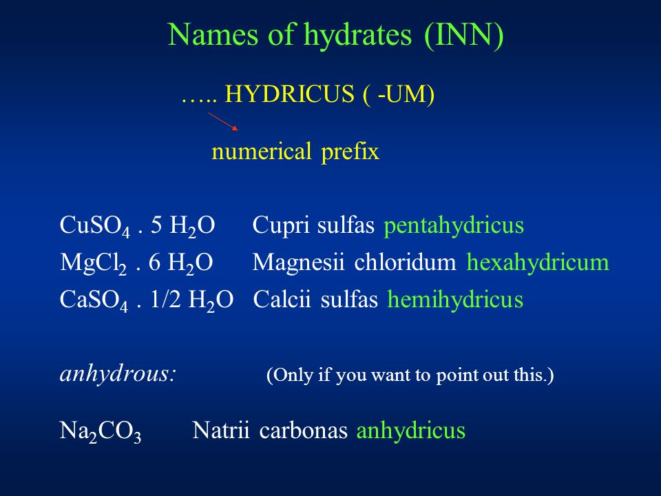 Names of polyacids and their salts (Number of central atoms is expressed by numerical prefix) H 2 B 4 O 7 tetraboric acid Na 2 B 4 O 7 sodium tetraborate H 2 Cr 2 O 7 dichromic acid K 2 Cr 2 O 7 potassium dichromate