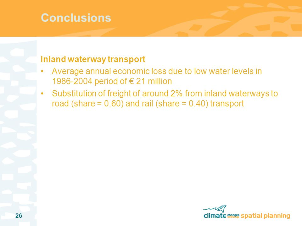 27 Research output Koetse, Rietveld, 2007, Climate Change, Adverse Weather Conditions, and Transport: A Literature Survey, Department of Spatial Economics, Vrije Universiteit, Amsterdam.