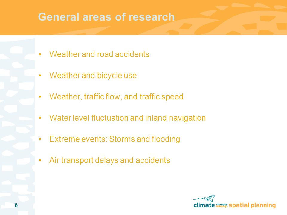 7 Consequences for the transport sector Road transport: Safety Decrease in number of wet days decreases accident frequency, increase in rainfall at wet days and extreme rainfall increases accident frequency Ambiguity with respect to accident severity as well Increase in frequency and duration of dry spells decreases road safety when it starts raining