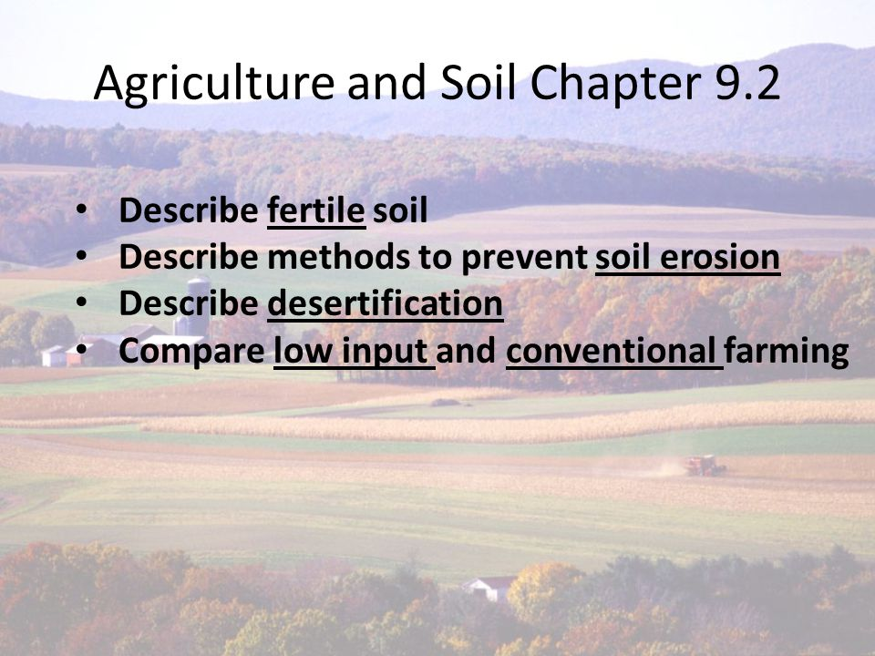 Fertile soil- soil that can support rapid growth of healthy plants Soil erosion- wearing away of topsoil by wind and water.