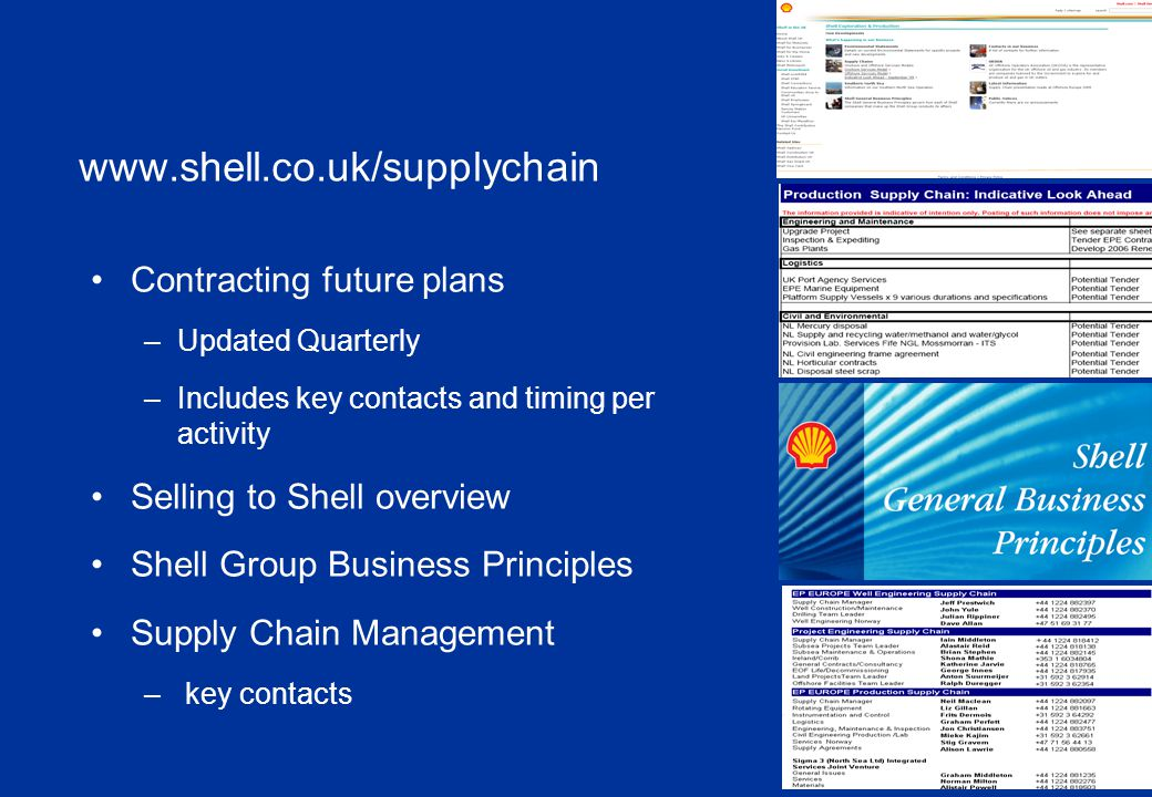 Contact Us …… We have a hard copy listing of contacts available for you For follow up please use our Contact List or contact: Shell email vicki.caveney@shell.com vicki.caveney@shell.com