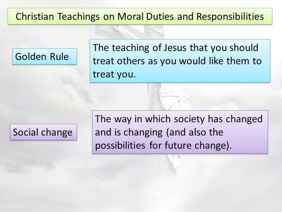 Christian Teachings on Moral Duties and Responsibilities Christians believe they should take part in democratic processes.