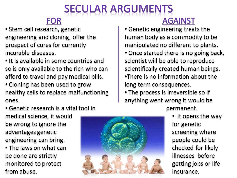 Different Christian attitudes to genetic engineering Some (mainly liberal Protestants) believe genetic engineering is fine if it is to cure disease, but not to create the perfect human.