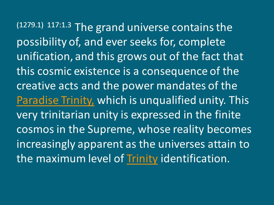 (1279.2) 117:1.4 The will of the Creator and the will of the creature are qualitatively different, but they are also experientially akin, for creature and Creator can collaborate in the achievement of universe perfection.