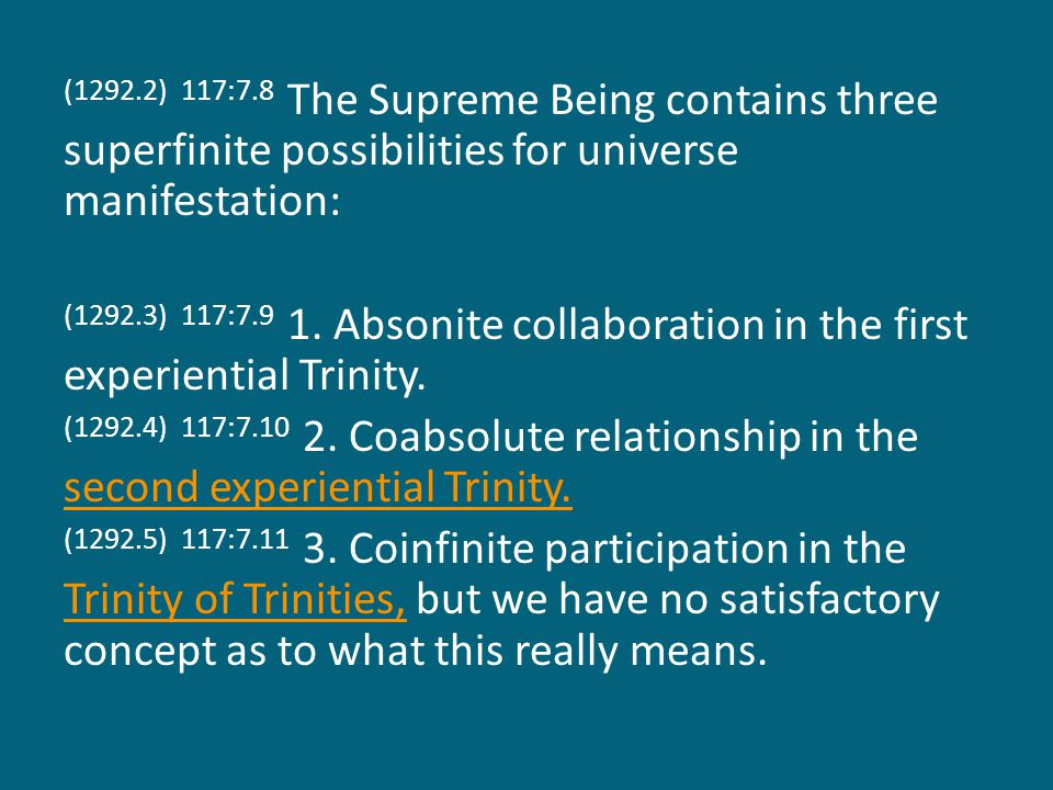 (1292.6) 117:7.12 This is one of the generally accepted hypotheses of the future of the Supreme, but there are also many speculations concerning his relations to the present grand universe subsequent to its attainment of the status of light and life.grand universe