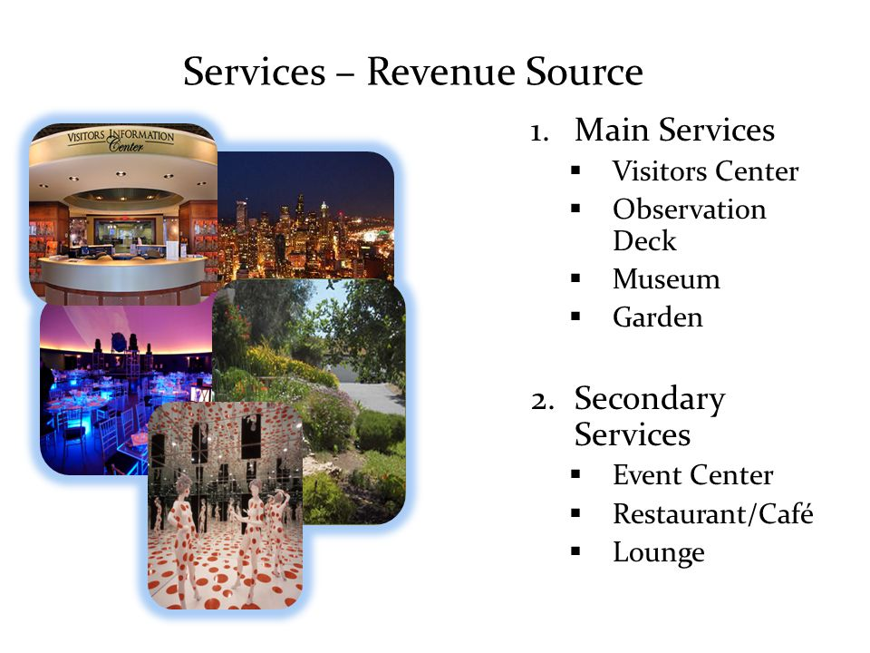 Financial Analysis Tickets Segmentation strategy to extract surplus observation deck, total package, club, commission Advertising & Rent Sponsored spaces by local companies, museums etc RestaurantsEvents Utility Savings Depend on level of technology @ implementation 10% of utility bills Merchandise 32 % 59 % 8%8% 1% $7M Revenue after 5 years