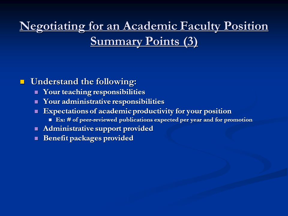 Negotiating for an Academic Faculty Position Questions and Discussion