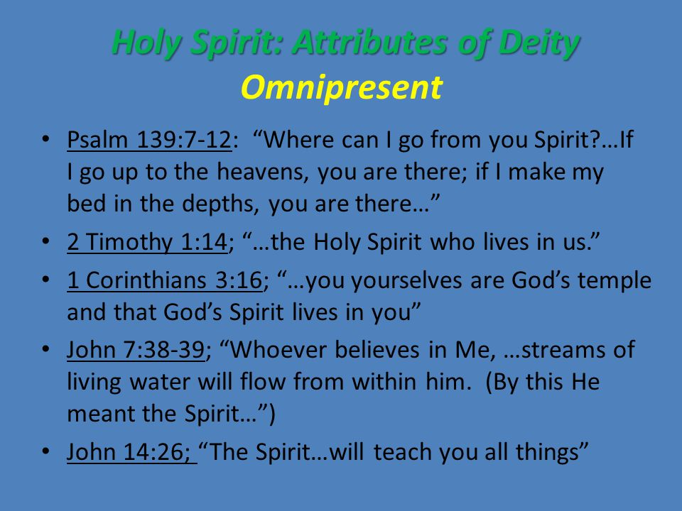 Holy Spirit: Attributes of Deity Holy Spirit: Attributes of Deity Eternal Hebrews 9:14; How much more then, will the blood of Christ, who through the eternal Spirit offered Himself unblemished to God… The Holy Spirit is eternal and uncreated.