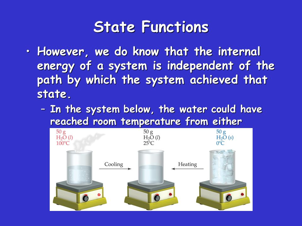 State Functions Therefore, internal energy is a state function.Therefore, internal energy is a state function.