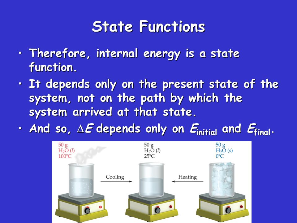 State Functions However, q and w are not state functions.However, q and w are not state functions.