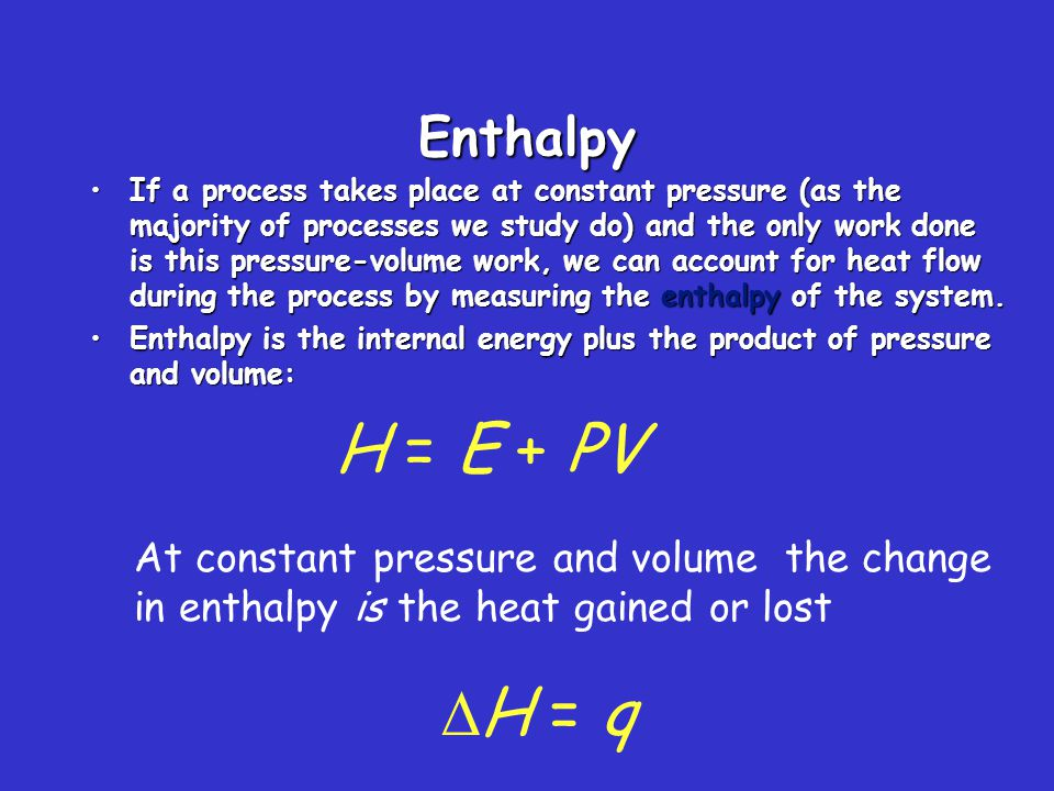 Enthalpies of Reaction The change in enthalpy,  H, is the enthalpy of the products minus the enthalpy of the reactants:  H = H products − H reactants