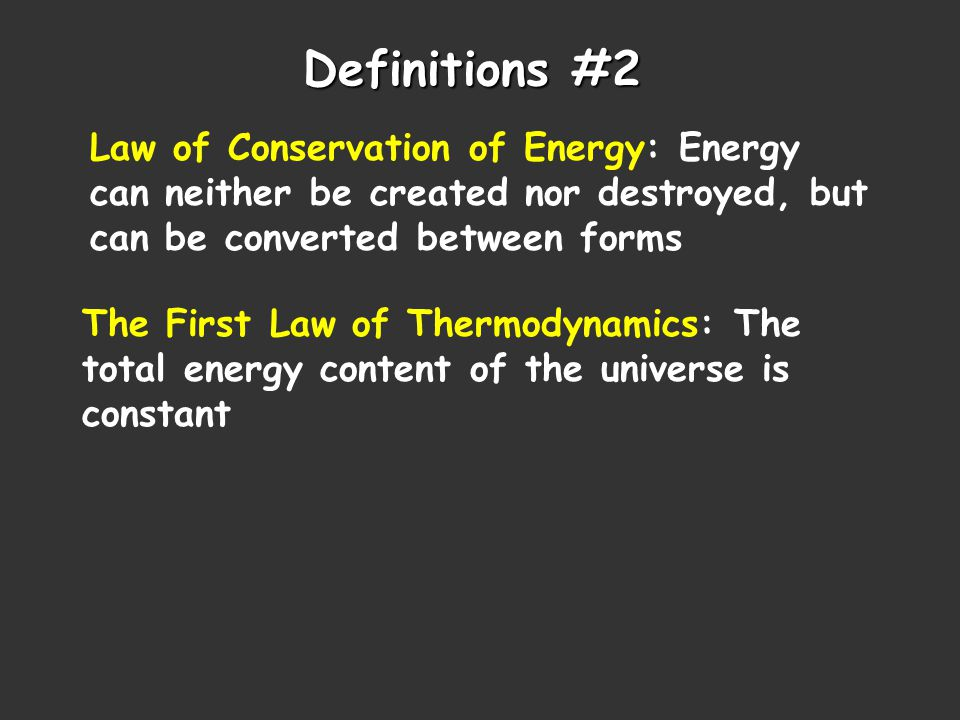  E = q + w  E = change in internal energy of a system q = heat flowing into or out of the system -q if energy is leaving to the surroundings +q if energy is entering from the surroundings w = work done by, or on, the system -w if work is done by the system on the surroundings +w if work is done on the system by the surroundings