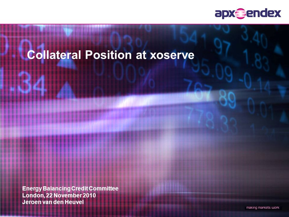 2 Request for change in collateralization with xoserve APX-ENDEX Collateral setup Current collateralization with xoserve Consequences of current setup Proposed solution Historical data analysis Balance Information Content