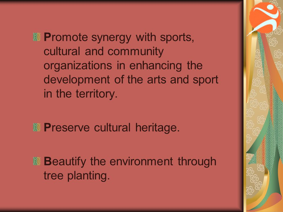 Pledges Performing Arts We pledge to provide civic centre facilities, cultural and entertainment programmes to promote the development and appreciation of performing and visual arts.