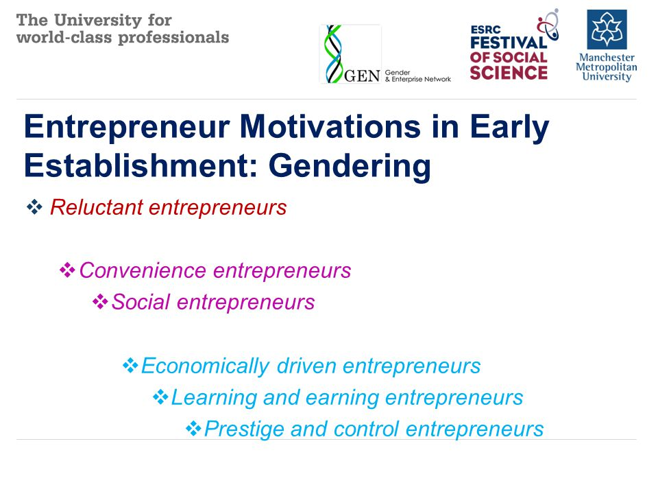 The Effect of Motivations on Businesses (Female Dominated)  Convenience entrepreneurs  Low debt/time investment, slow growth  Social entrepreneurs  Dependence on grants, high time commitment, no/low growth