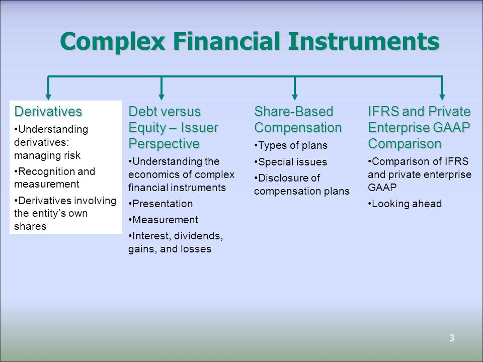 4 Financial Instruments Financial instruments: contracts that create both a financial asset for one party and a financial liability or equity instrument for the other party Financial instruments can be primary or derivative Primary financial instruments: include most basic financial assets and financial liabilities, such as receivables and payables, and equity instruments, such as shares