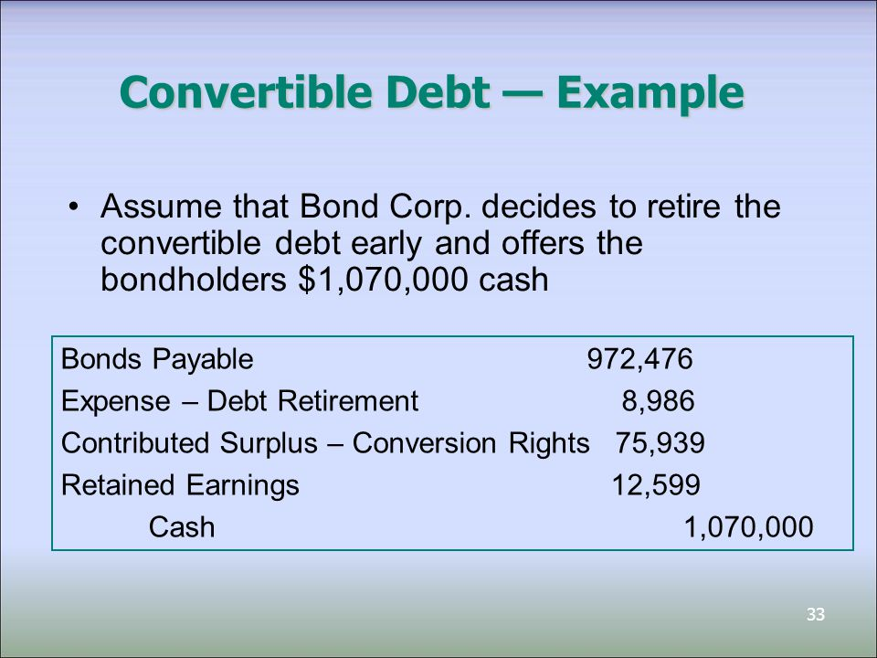 34 Interest, Dividends, Gains/Losses The related interest, dividends, gains, and losses must be consistently treated as the financial instrument they relate to Example: term preferred share –presented as a liability –related dividends would be recorded as interest expense (or dividend expense) and charged to the income statement (instead of Retained Earnings)