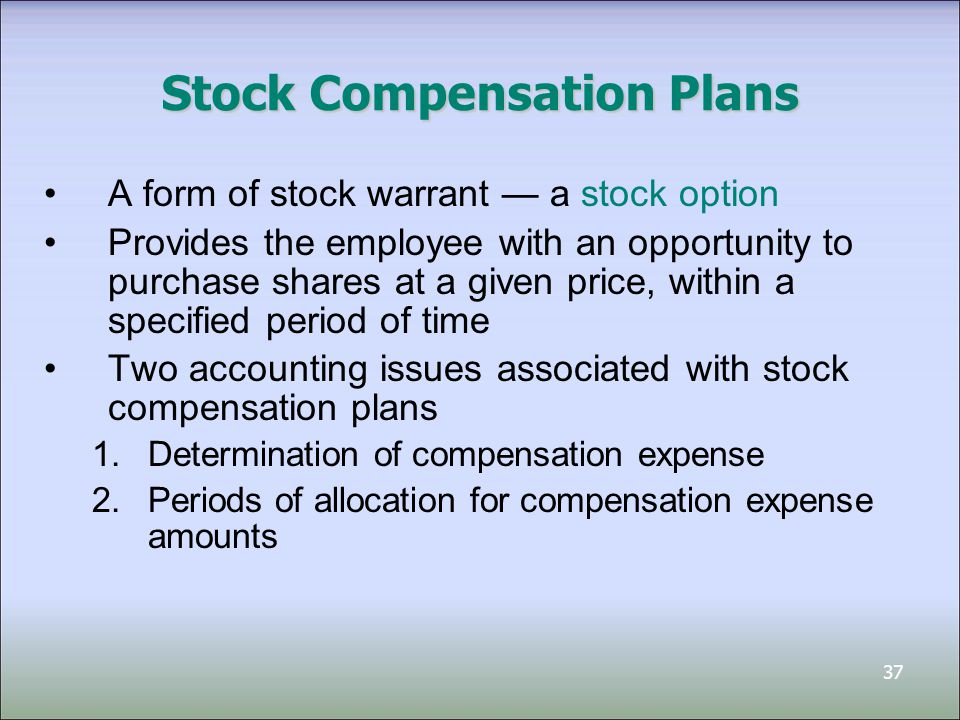 38 Uses of Stock Options Stock Options Issued by the company Issued by other e.g.