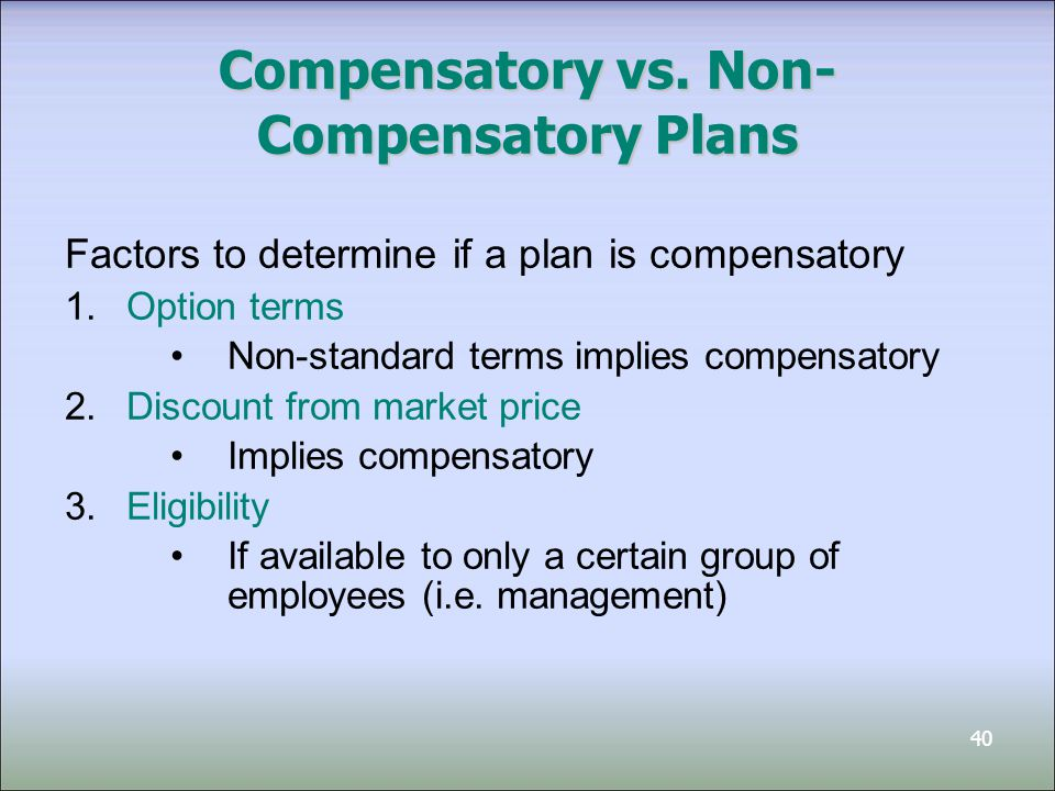41 Non-Compensatory - Example Fanco Limited set up an ESOP that gives employees the option to purchase shares for $10 per share On January 1, 2011, employees purchase 6,000 options for $6,000: Cash 6,000 Contributed Surplus-Options 6,000 If employees exercise all 6,000 options: Cash (6,000 x $10) 60,000 Contributed Surplus-Options 6,000 Common Shares 66,000