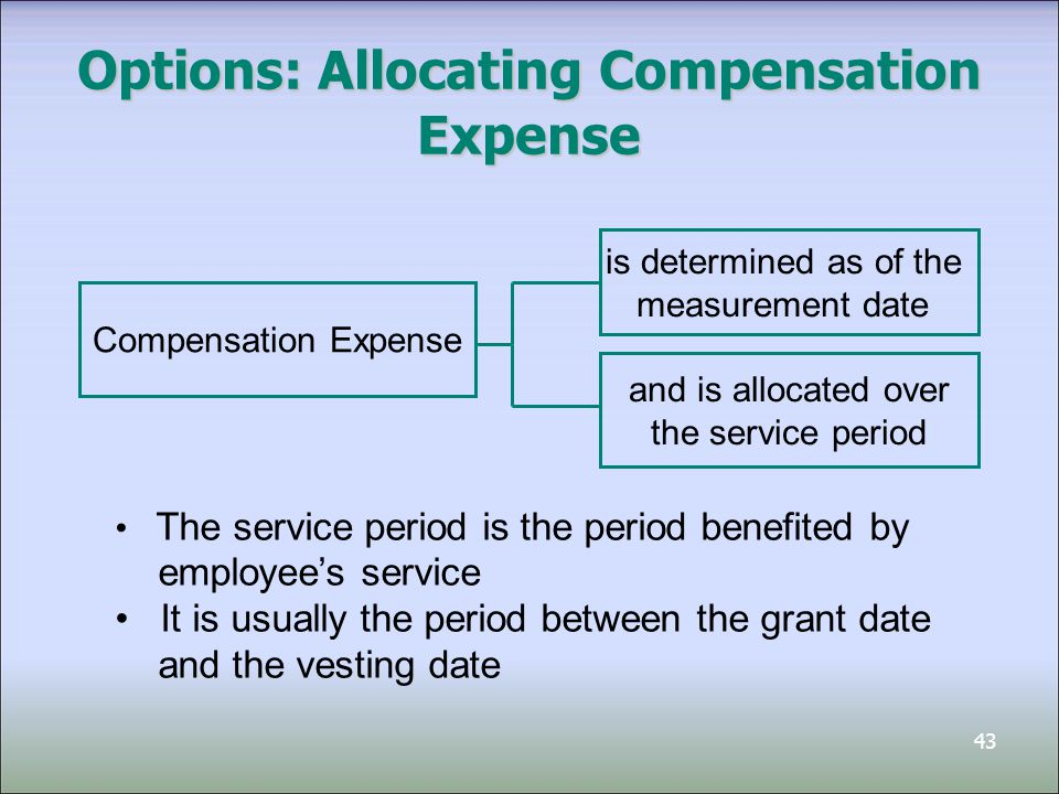 44 Compensation Expense - Example On January 1, 2012, Chen Corp grants five executives the options to purchase 2,000 shares each The option price per share is $60, and the market price is $70 per share when options are granted The fair value, determined by an option pricing model, results in compensation expense of $220,000 Assuming expected period of service is two years, journal entries at year end for 2012 and 2013: Compensation Expense110,000 Contributed Surplus – Stock Options 110,000 ($220,000 / 2)