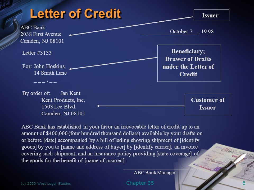 (c) 2000 West Legal Studies Chapter 357 Three Contracts Involved in Letter-of-Credit Transactions Issuer Customer of Issuer #1 Letter of Credit #2 Customer of Issuer Letter of Credit Beneficiary of #3 (underlying agreement; often contract of sale)00 (usually a bank)