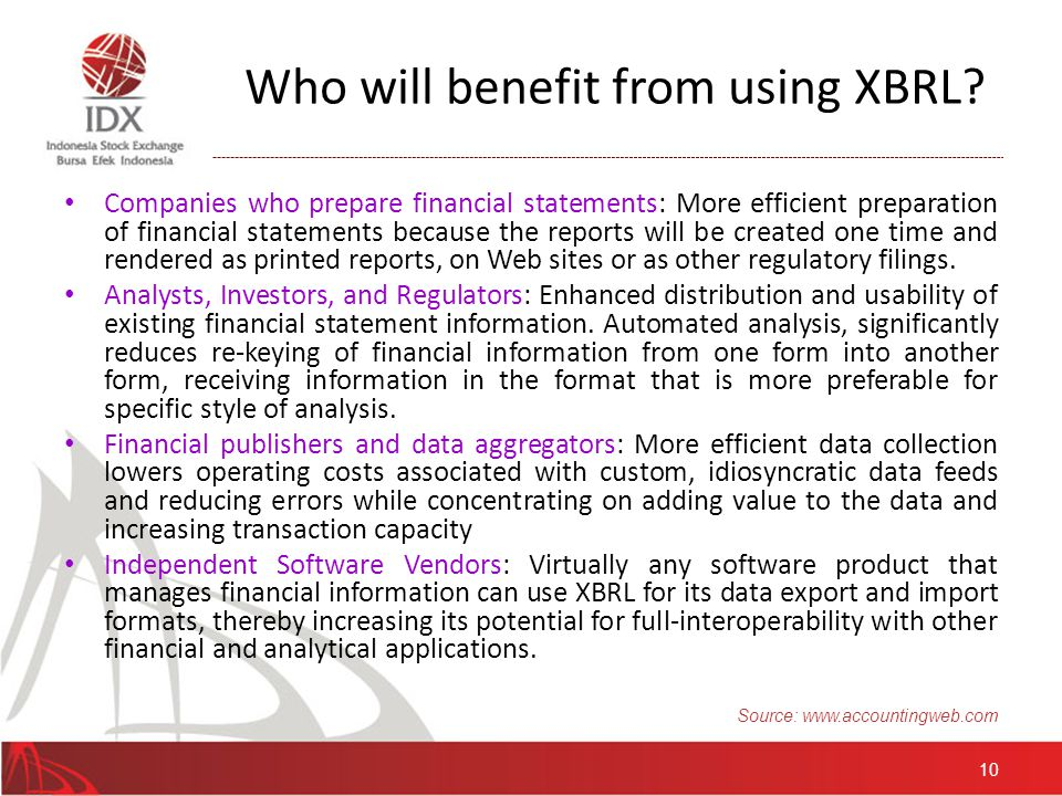 XBRL Usage source: http://www.xbrl.org/knowledge_centre/projects/map 11 Currently XBRL has been adopted as standard reporting over the globe