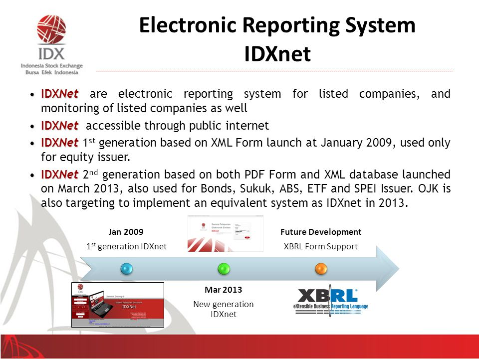 IDXnet 3 rd Generation – XBRL Adoption (Plan) 18