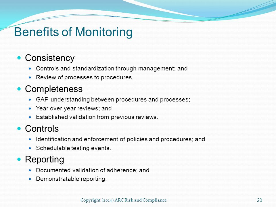 The continuous monitoring scenarios are the strength of the position.