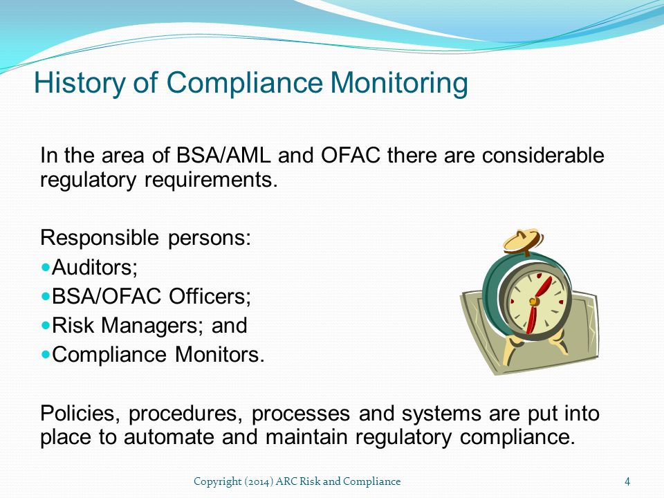 Compliance monitoring is the continued self- assessment and adherence to policies, procedures, and processes within the compliance program.