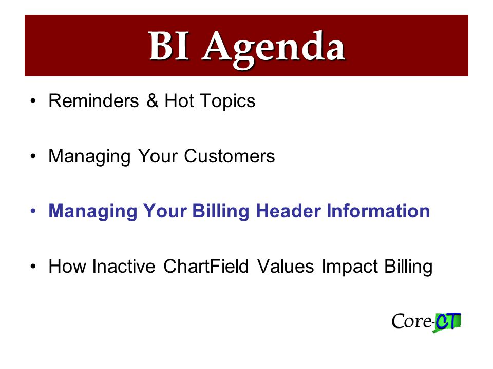 Billing Header Info Maintaining Billing Specialists and Bill Inquiry Phone Numbers